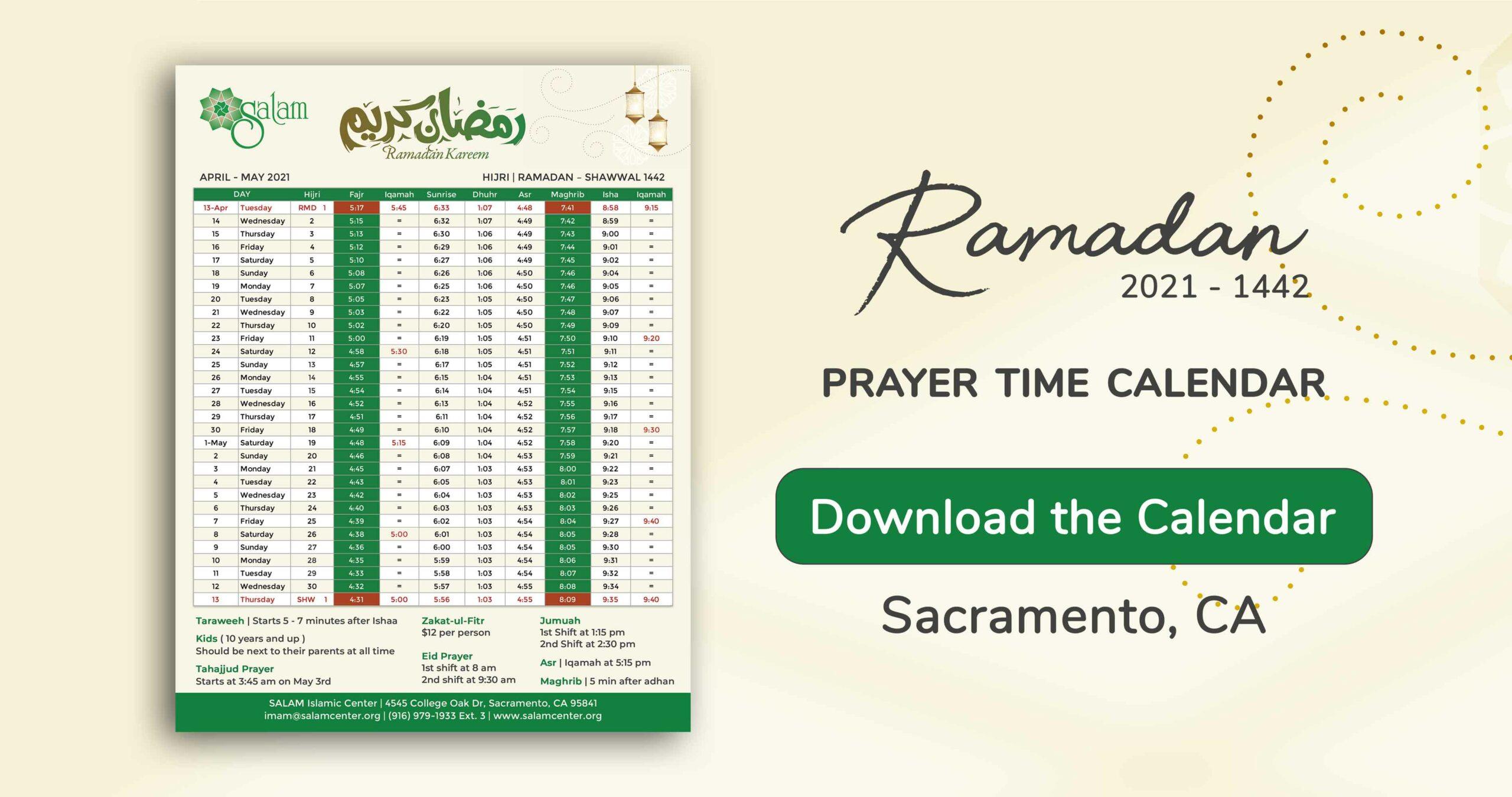 Ramadan SALAM Sacramento Prayer Times and Iqama Calendar 2021